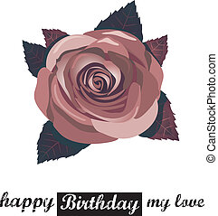 vector happy birthday card with red flowers. - vector happy...