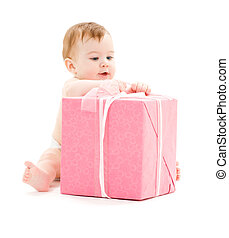 baby boy with big gift box - picture of baby boy with big...