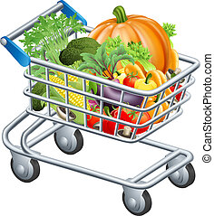 Vegetable trolley - An illustration of a trolley or...