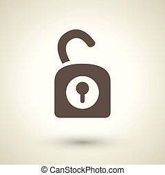 Unlock icon - retro style unlock icon isolated on brown...