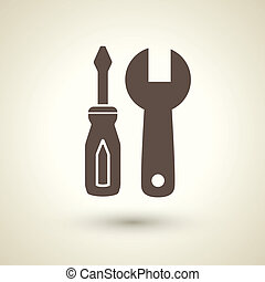 Tools icon - retro style tools icon isolated on brown...