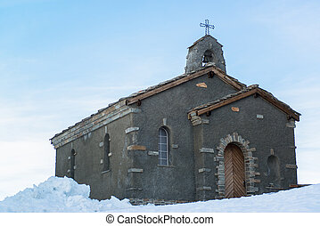 Chapel at Gornergrat station in Swiss Alps
