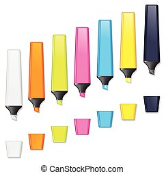 Highlighters. Colored Marker Pen Vector