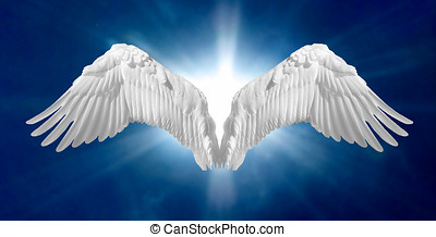 Angel Wings 2 - Angel wings on heavenly blue background