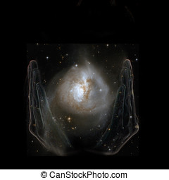 Hands of God holding Nasa image of nebula in black space