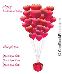 heart balloons - vector card with balloons in form of heart...