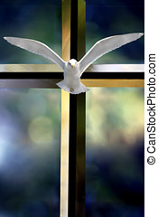 Holy Spirit Cross - Bevelled glass cross Holy Spirit bird...