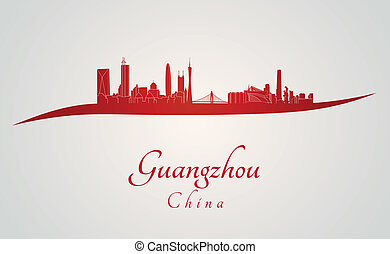 Guangzhou skyline in red and gray background in editable...