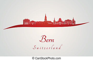 Bern skyline in red and gray background in editable vector...