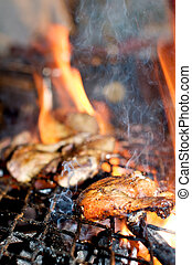Jamaican Jerk Chicken - Jerk chicken on a BBQ in Jamaican...