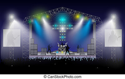 Rock Concert Vector - Rock musicians silhouettes: Rhythm and...