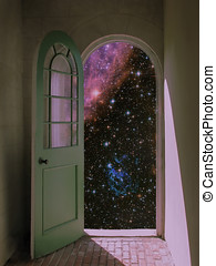 Outer Space through Arched Doorway - Arched doorway opening...