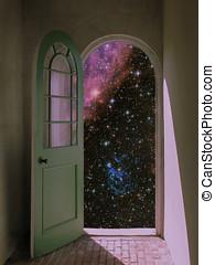 exterior, espacio, por, arqueado, puerta