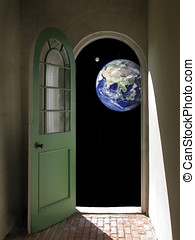 Earth and Moon through Arched Doorway - Arched doorway...
