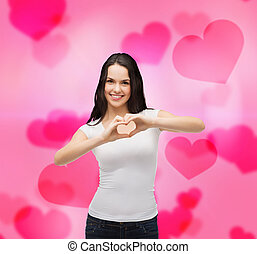 smiling girl showing heart with hands - love, t-shirt design...