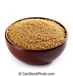 Bowl of brown sugar on white background