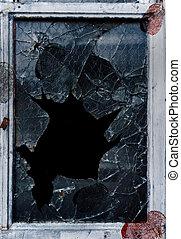 shattered glass fingerprints - Shattered glass window pane...