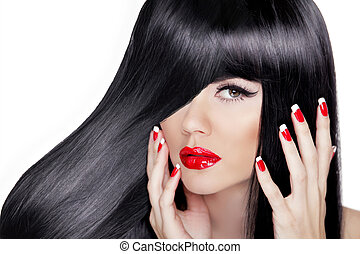 Beautiful Brunette Girl. Healthy Long Hair. Sexy red lips. Manicured polish nails.