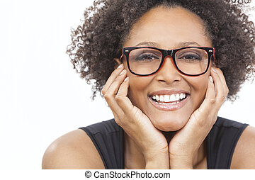 Mixed Race African American Girl Wearing Glasses - A...