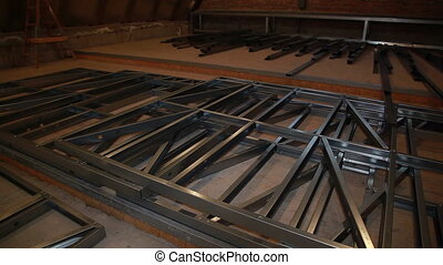 Steel sections of the frame house.