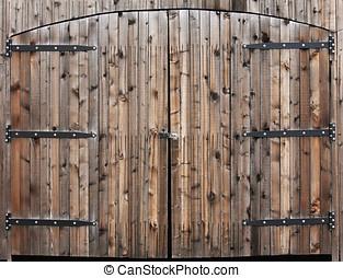 resistido, de madera, doble, puerta