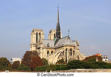 Notre Dame de Paris and the Seine river France in the Paris,...