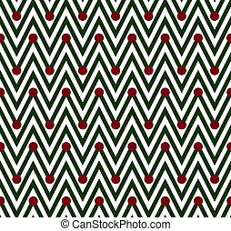 Green and White Horizontal Chevron Striped with Polka Dots...