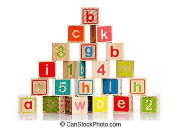 玩具, 塊, 木制, 字母表, 信件, 立方