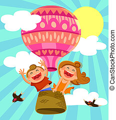 kids in hot air ballon - two happy kids flying in a hot air...