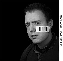 worried man with barcode