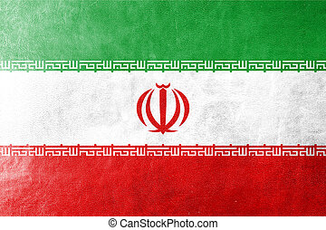 Iran Flag painted on leather texture