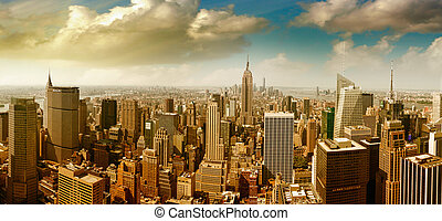 Panoramic aerial view of Midtown and Downtown Manhattan - New York City.