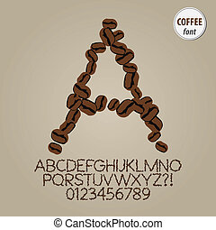 Coffee Seeds Alphabet and Digit Vector