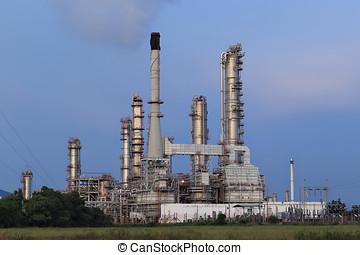 raffineria, scenico, pianta, prodotto petrochimico, olio