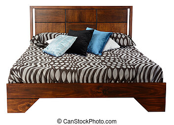 Bed. Isolated - Wooden bed