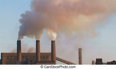 Three smoking chimneys Metallurgical complex, Alchevsk,...