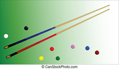 Snooker Cues and Balls - Two snooker cues with several...