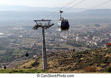 Cable car in Bergama - Cable car on the hjill with acropolis...