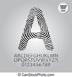 Silhouette Fingerprint Alphabet and Digit Vector