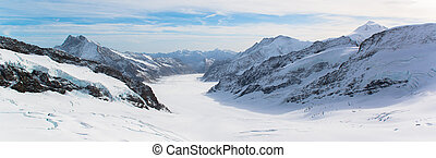Great Aletsch Glacier Jungfraujoch - Panorama Scenic of...