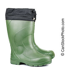 Rubber boots - Pair of green rubber boots isolated on white