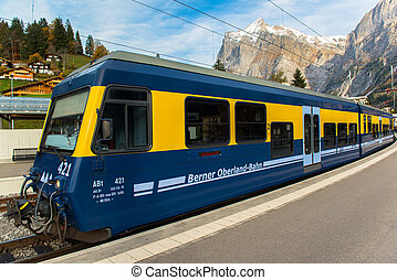 Famous Jungfrau Bahn with Beautiful Mountain View in Sunny...