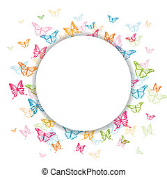 Vector Background with Colorful Butterflies
