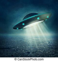 Unidentified Flying Object - UFO flying in a dark sky