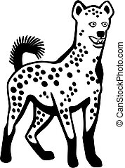Hyena - vector illustration of a hyena standing alert with...
