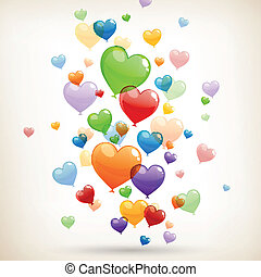 Vector Heart Balloons - Vector Illustration of Colorful...