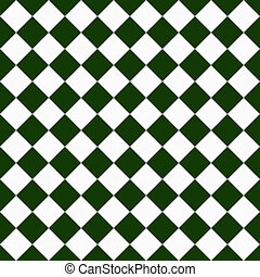 Dark Green and White Diagonal Checkers Textured Fabric...