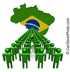 people with Brazil map flag - Lines of people with Brazil...