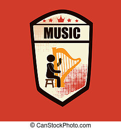 musical design over orange background vector illustration