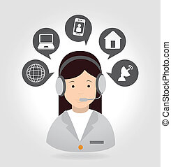 receptionist with phone over gray background vector...